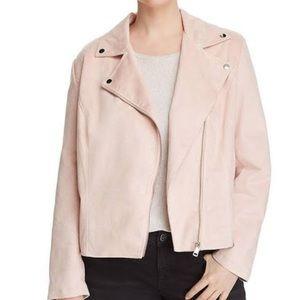 Bagatelle Pink Faux Suede Motorcycle Jacket